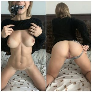 Pic - Cuntnugget- undies slammed in throat, or pulled to the side?