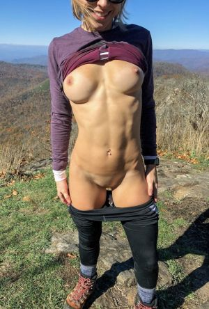 Pic - Cuntnugget- fall hikes make her clothes fall off