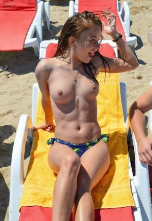 Pic - handsome ginger-haired with good figure bare-chested at the beach