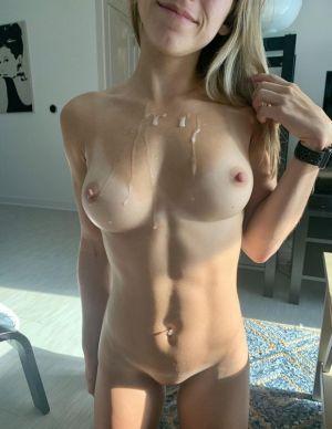 Pic - Cuntnugget- has a cute fresh fountain of jizz on her ideal boobs